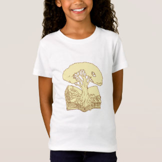 Oak Tree Rooted on Book Drawing T-Shirt
