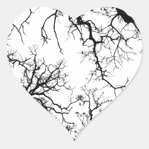 oak tree silhouette heart stickers