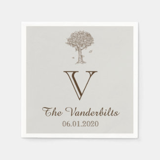 Oak Tree Sketch Wedding Napkin Disposable Napkin