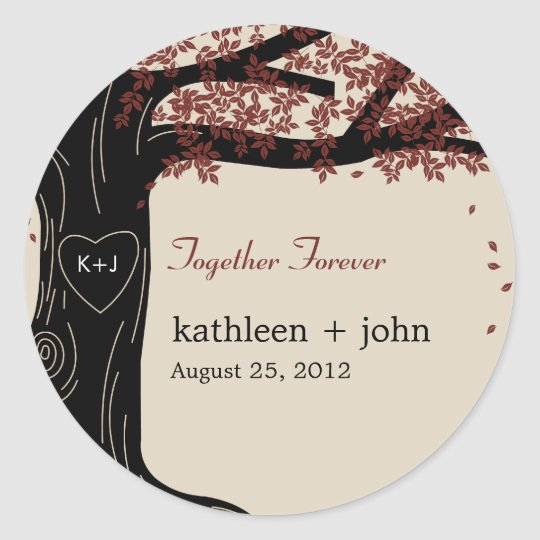 Oak Tree Wedding Favour Sticker