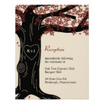 Oak Tree Wedding Reception Card - Red