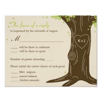 "Oak Tree Wedding RSVP Card w/ Menu Selection 4.25"" X 5.5"" Invitation Card"