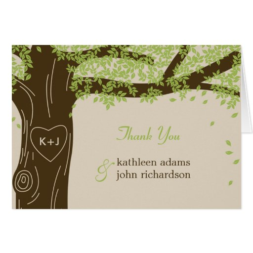 Oak Tree Wedding Thank You Note Cards Greeting Card