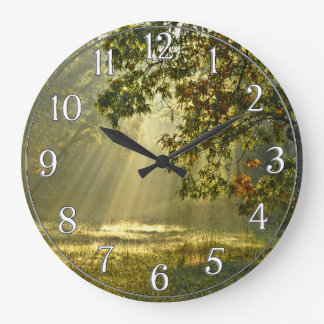 Oak Tree with Morning Sunbeams Large Clock
