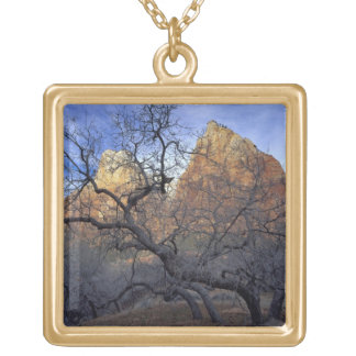 Oak trees in winter, Court of the Patriarchs Gold Plated Necklace