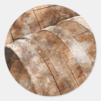 Oak Wine Barrel Classic Round Sticker