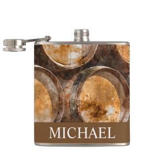 Oak Wine Barrel Peronalized Flask for Groomsman