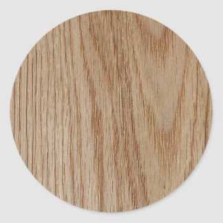 Oak Wood Grain Look Classic Round Sticker