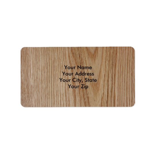 Oak Wood Grain Look Label