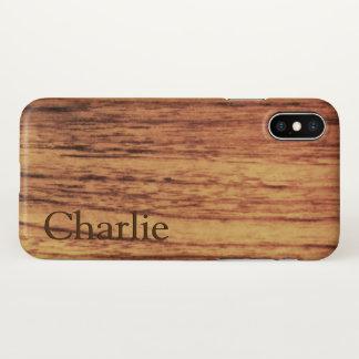 Oak Wood Print Name Template iPhone X Case