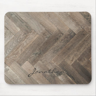 Oak Wood Zigzag Pattern Monogram Mouse Pad
