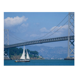 Oakland Bay Bridge with sailboat, San Francisco, C Postcard