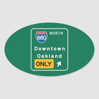 Oakland, CA Road Sign Oval Sticker