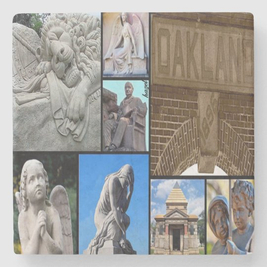 Oakland Cemetery Collage, Atl Marble Stone Coaster