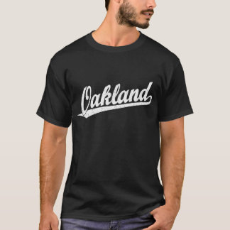 Oakland script logo in white distressed T-Shirt