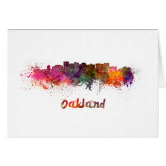 Oakland skyline in watercolor card