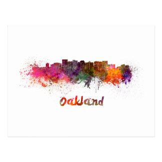 Oakland skyline in watercolor postcard