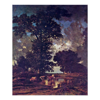 oaks at the bottom by Jules Dupre Poster