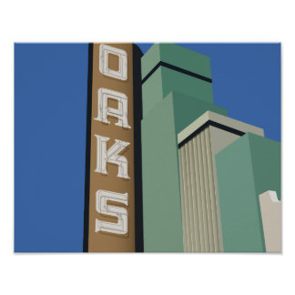 OAKS THEATER MOVIE HOUSE MARQUEE ILLUSTRATION POSTER