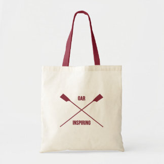 Oar inspiring slogan and crossed oars deep red tote bag