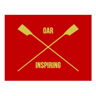 Oar inspiring slogan and crossed oars red postcard