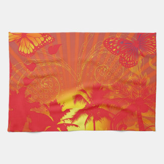 oasis-256649 HOT SUMMER RED YELLOW PALM TREES RAYS Kitchen Towel