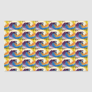 OASIS Waves Flowers Pattern Graphic Deco Art GIFTS Rectangular Stickers