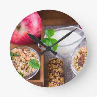 Oat cereal with nuts and raisins clock