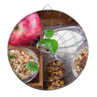 Oat cereal with nuts and raisins dart board