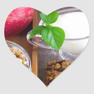 Oat cereal with nuts and raisins heart sticker