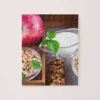 Oat cereal with nuts and raisins jigsaw puzzle