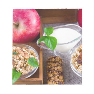Oat cereal with nuts and raisins notepad