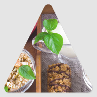 Oat cereal with nuts and raisins triangle sticker