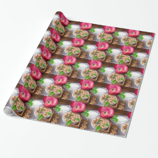Oat cereal with nuts and raisins wrapping paper
