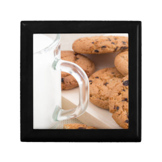 Oatmeal cookies and milk for breakfast close-up gift box