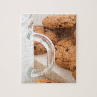 Oatmeal cookies and milk for breakfast close-up puzzle