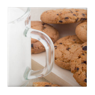 Oatmeal cookies and milk for breakfast close-up tile