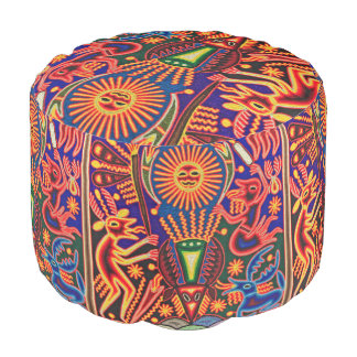 Oaxaca Mexico Mexican Mayan Tribal Art Boho Travel Pouf