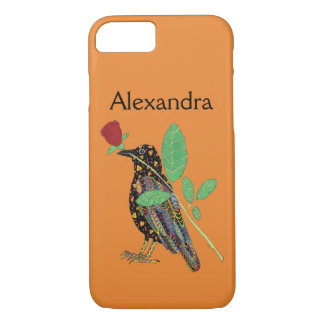 Oaxacan Crow & Red Rose Mexican Art Custom Name Case-Mate iPhone Case