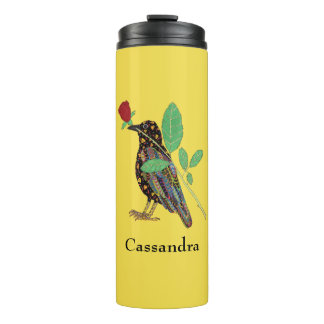 Oaxacan Crow & Red Rose Mexican Art Custom Name Thermal Tumbler