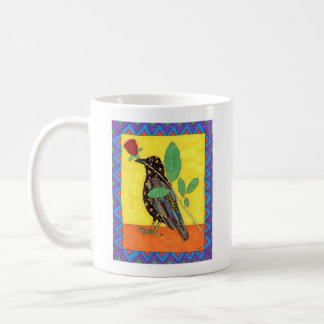 Oaxacan Crow & Red Rose Mexican Folk Art Coffee Mug