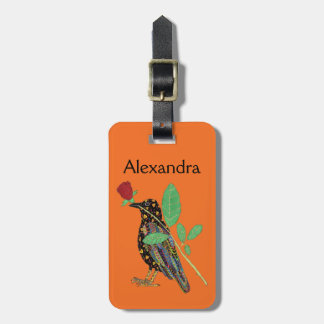 Oaxacan Crow & Rose Orange Mexican Art Custom Name Luggage Tag