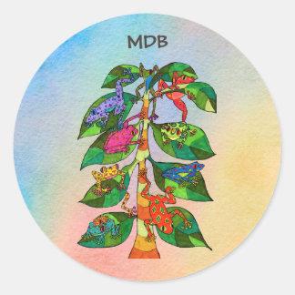 Oaxacan Frog Tree of Life Custom Monogram Round Sticker