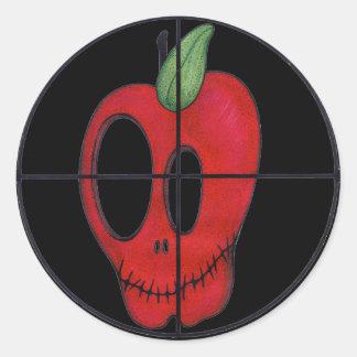 OBA red apple skull target logo sticker