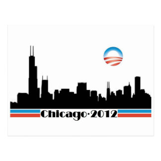 Obama 2012 - Chicago Skyline Postcard