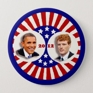Obama 2012 Kennedy Coat Tail 4 Inch Round Button