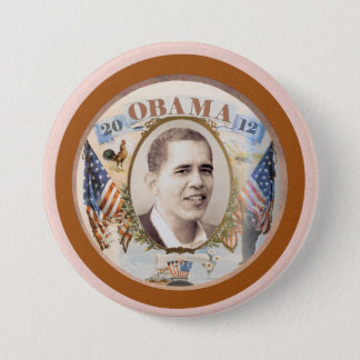 Obama 2012 Twin Flags Design 3 Inch Round Button