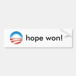 obama_4color_omark, hope won! - Customized Bumper Sticker