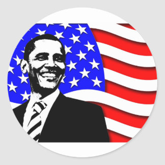 Obama And Flag Classic Round Sticker