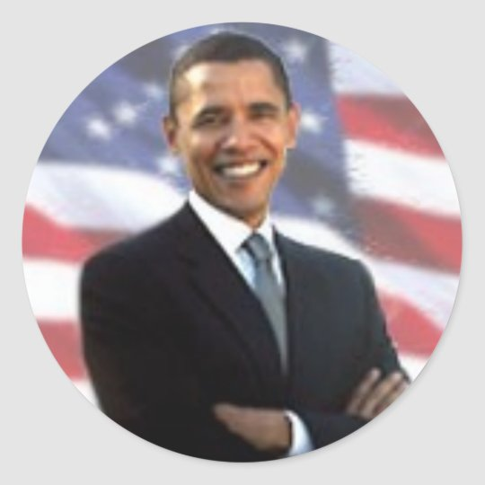 Obama and the American Flag Classic Round Sticker
